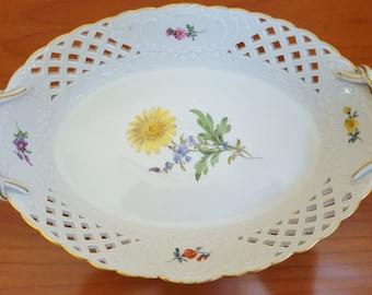 Meissen of breakthrough dish Bowl showpiece plate flowers