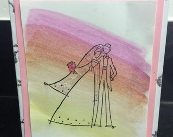 Watercolor Homemade Wedding Card