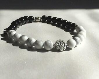 White Howlite Dharma Wheel Balance/Meditation/Healing Beaded Bracelet
