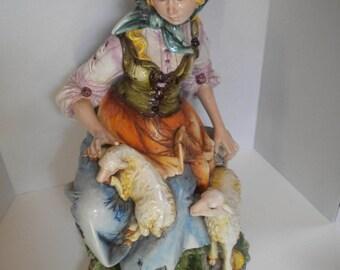 G. Spiller Hand-painted Sculpture Woman Lambs Italy