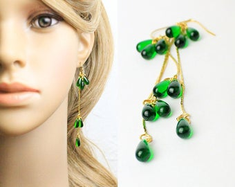 green gold earrings bridesmaids earrings gold jewelry green jewelry girlfriend gifts women green wedding earrings emerald jewelry W155