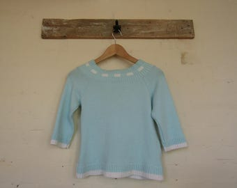 Pastel Blue Jumper with 3/4 Length Sleeves