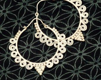 Earrings Mia/silver plated earrings/Boho earrings/gipsy loops