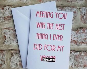 Rude valentines, Cheeky valentines, Cheeky card, Rude birthday card, Card for boyfriend, Lesbian card, Card for husband, Funny valentines,