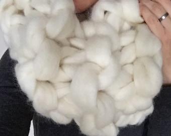 Arm Knit 100% Merino Wool Chunky Cream Coloured Cowl