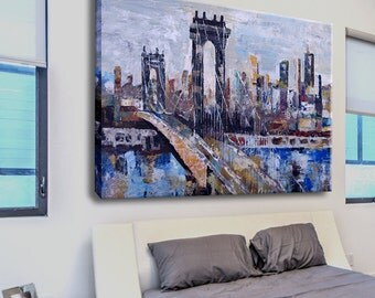 Abstract landscape, Oil painting, Original painting, Modern painting, Art painting, Large oil painting, Cityscape oil painting on canvas