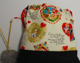 Vintage Valentine bag,  Knitting Bag, Crochet Bag, Yarn Bag,  Project Bag, Sock knitting bag