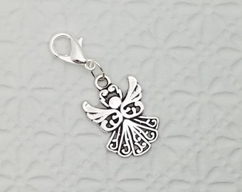 Silver Angel charm, 3D bracelet charm, zipper pull, purse charm, clip on charm, charm on lobster clasp, Fast Shipping from USA CS434