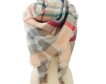 Blanket scarf plaid, gift for her, shawl scarf, plaid scarf, womens scarves, chunky scarf, winter scarf, scarves, christmas gift for her