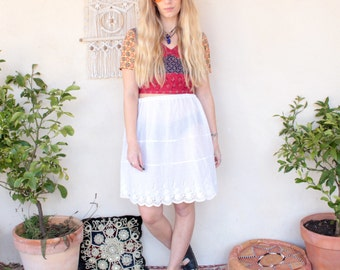 Vintage Cotton Broderie Anglaise Skirt