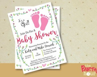 Printable Baby Shower Invitation girl - It's a Girl Baby Shower Invitation - Personalized Baby Shower Invitation Girl. Footprints BabyShower