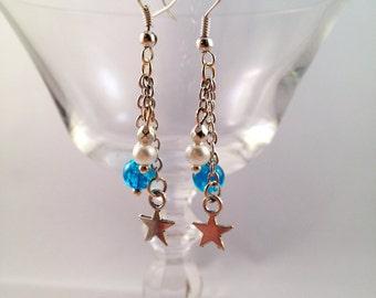 """""""Blue Star"""" Silver earrings"""
