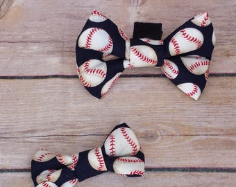 Baseball Dog Bow Tie /  Baseball Cat Bow Tie / Baseball Dog / Baseball Cat / Dog Bow Tie / Cat Bow Tie / Velcro Bow Tie / Large Dog