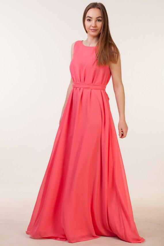 Long coral bridesmaid dress Coral bohemian bridesmaid dress