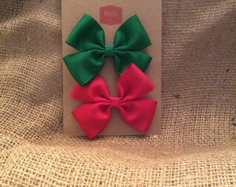 Two 3-inch Hair Bows - 1 Green, 1 Red