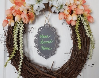 SOLD**Front door wreath/Spring Wreath/Tulip wreath/Tiger Lily wreath/Grapevine Door Wreath/Home Decor