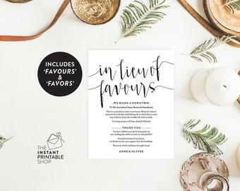 in lieu of favors sign, Wedding favours, Wedding favors rustic, Favors wedding, Printable wedding signs, Rustic wedding decor,