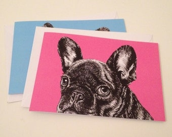 Pack of two French Bulldog Cards