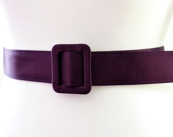 Purple Satin Thick Belt with Oblong Buckle Length 40 inch 1980s