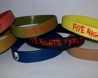 Set of 7 ~ Five Nights at Freddy's ~ Silicone Bracelets ~ Wristbands ~ Great Kids Themed Birthday Party Favors Supplies FNAF Freddys Game