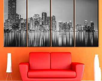 Miami Downtown, Black white city, City artwork, Skyscraper canvas, Night city canvas, City canvas print, Town canvas, Large Wall Cityscape