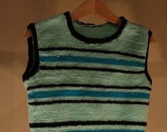 80s vests true vintage knitting Pullunder children Kleindkinder striped turquoise blue black DDR DIY handmade self-knitted retro