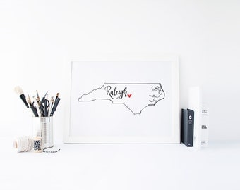 North Carolina Print - State Print - Hand Lettered Print - North Carolina - Custom State Print - Personalized State Print -Custom State Sign