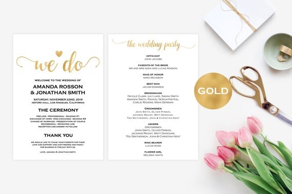 Wedding Program Template Gold - Wedding Ceremony Program Template - Foil Gold Wedding Program Printable - Downloadable Wedding #WDH0115