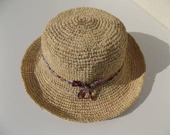 Hat, raffia, liberty, flexible hat, demi-capeline, 55 cm hat, straw hat, natural color, hat crochet, handmade