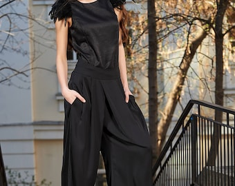 Palazzo Pants, Plus Size Maxi Pants, Wide Leg Pants, Minimalist Pants, Formal Palazzo Pants, Black Pants, Womens Trousers, Suit Trousers