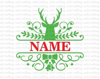 Christmas svg, Reindeer monogram svg, Christmas monogram svg, Reindeer svg dxf jpeg cutting files for Silhouette Cameo, Curio, Cricut