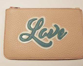 Wallet, card holder, real leather blue/pink, LOVE, portfolio, handmade, gifts