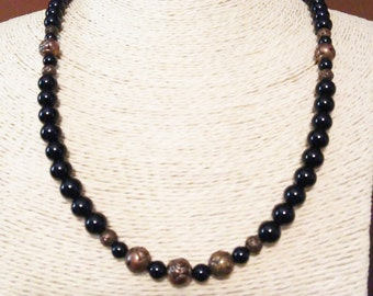 Black Onyx Glass Bead Necklace with Rosettes