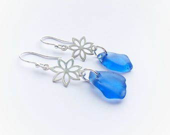 Cornflower Blue Sea Glass Earrings, Sea Glass Earrings, Blue Sea Glass Earrings with Sterling Silver Fittings