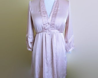 Vintage Satin dress, Summer dress, Pink dress, Casual dress, Mini dress, 90s dress, Silky dress, Size S