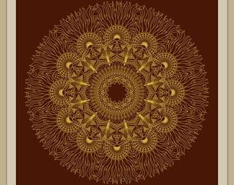 Gold mandala, Golden mandala, Mandala wallpaper , Large mandala print, Digital mandala download,  Mandala wall decor, Printable mandala