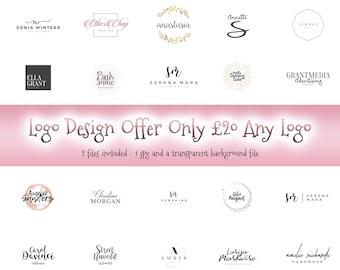 Logo Design, Premade logo, watermark design, photography watermark, logo brand, Watercolour logo, pink heart, business logo