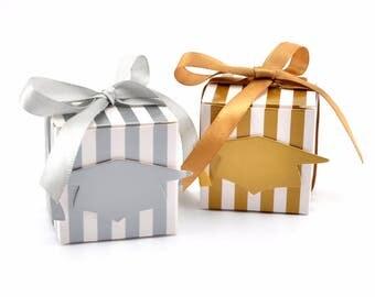 100pcs Gold / Silver Striped Graduation Cap Square Wedding Favor Boxes/Candy Boxes, Chocolate Box Graduation Show Souvenir gift