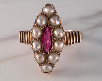 Antique Victorian gold, pearl and ruby ring