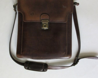 vintage genuine leather brown bag made in Greece