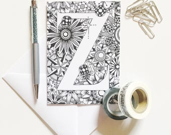 Handmade Cards, Art Print Cards, Initial Cards, Alphabet Cards, Personalised Cards, Zentangle Greeting Card, Letter Cards, Zentangle Cards