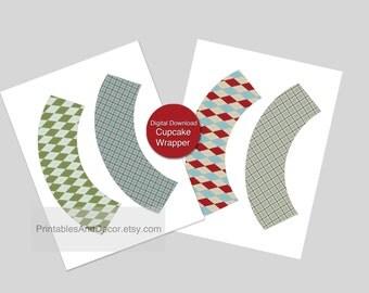 Cupcake Wrappers Download Argyle Tartan Boy Birthday Party Decor PRINTABLE cupcake wrapper