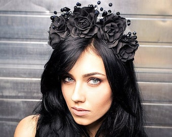 Black tiara Black crown Black headband Black tiara with roses Black gothic headband Black gothic tiara Gothic crown