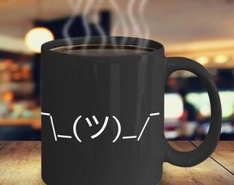 Meme Gifts - Dank Memes - Emoji Mug - Emoticon Mug - Shrugging Man Internet Meme Ceramic Coffee Cup - Black Coffee Mugs