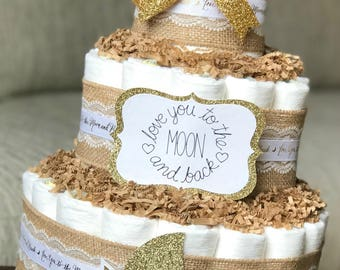 Moon and Star Diaper Cake, Love You To The Moon And Back Twinkle, Baby Gender Neutral Burlap Gold Baby Shower Centerpiece Decor Gift, 3 Tier