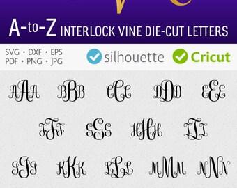 Interlock monogram font svg Vine cuttable alphabet svg download Cricut fonts initial letters svg vinyl script design svg eps dxf Silhouette