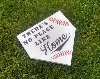 There's No Place Like Home Baseball Wooden Sign For Kids Bedroom