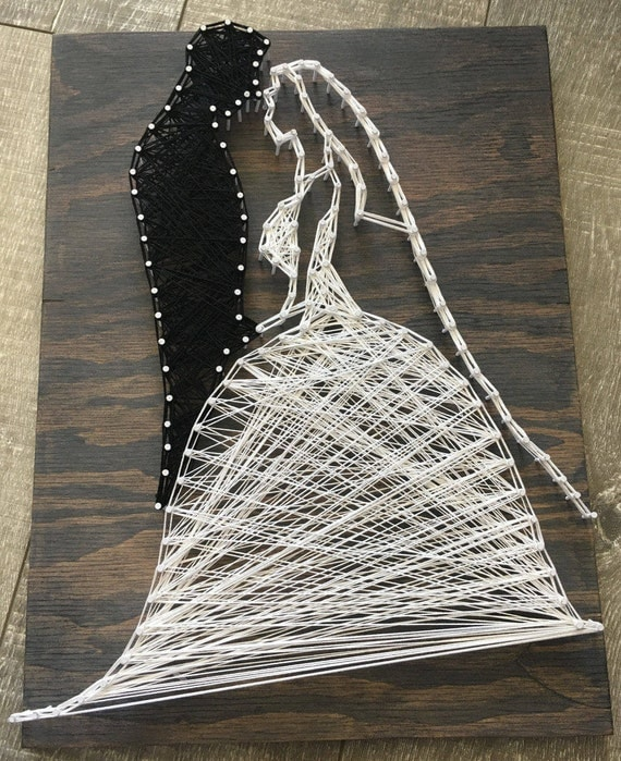 bride and groom string art. Black Bedroom Furniture Sets. Home Design Ideas