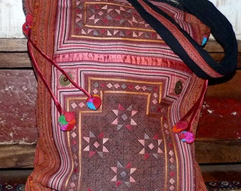 Hmong embroidered carry bag hilltribe textile handmade