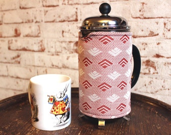 Retro Coffee Pot Cosy - Wipe Clean! - Vintage French Press Cover - 1960s Cafetiere Cosy - Geometric Print Crimplene - Vintage Coffee Gift.